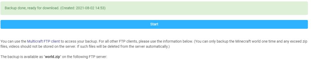 backup option in multicraft