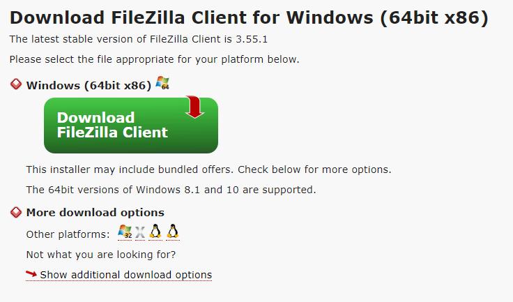 downloading 64 bit filezilla