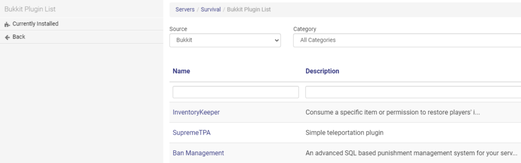 plugin list in multicraft